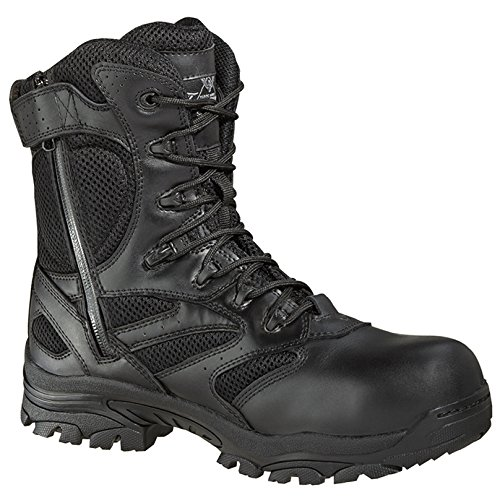 Thorogood Men's 8'' Deuce Waterproof Side Zip Puncture Resisting Boots, Black Leather, Mesh, Rubber, 8.5 (Leather Side Zip Fashion Boots)
