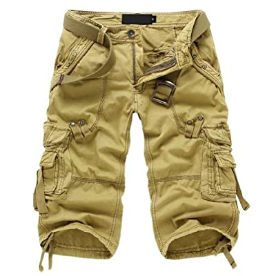 Juanshi Fathers Day Men's Cotton Casual Cargo Short Color Khaki