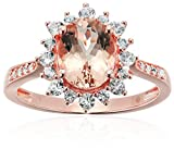 Rose Gold-plated Silver Oval Morganite And Created White Sapphire Halo Engagement Ring, Size 7