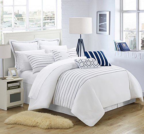 Chic Home 13 Piece Brenton Super Rich Microfiber Stitch Embroidered Comforter Set. Queen, White/Navy, with 4 White Sheet Set