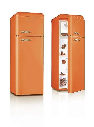 Retro Frigorífico Naranja brillo a + nevera y congelador combinado ...