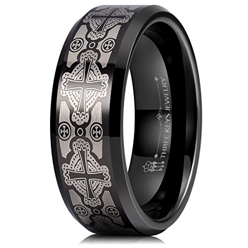 (THREE KEYS JEWELRY 8mm Laser Matte Frost Celtic Crosses Tungsten Ring Black Beveled Edge Men's Wedding Band Promise Ring Size 10)