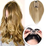 Elailite Silk Base Human Hair Toppers for Women Clip in Top Hairpiece Toupee for Tinning Hair (#27 Dark Blonde)