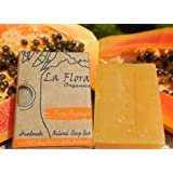 La Flora Organics Pure Papaya Handmade Soap Bar with Papaya Fruit and Natural Glycerine - 100 g