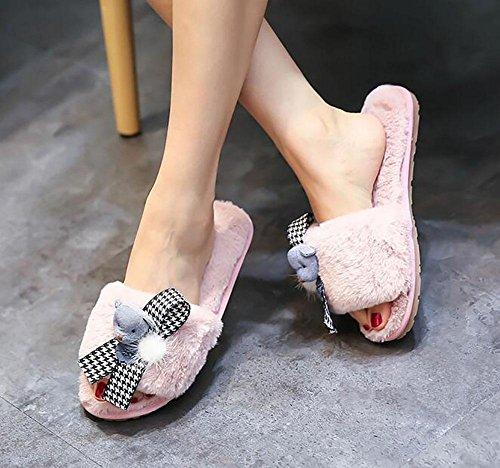femme hiver la glissant à Pantoufles pink de la porter en maison tendon peluche peluche pantoufles en à ours fin fourrure w0wqEtxO