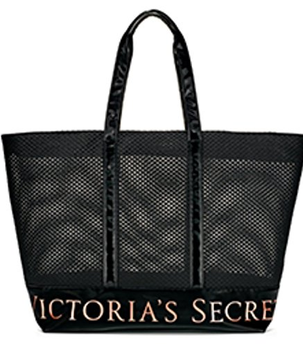 VICTORIA SECRET LARGE MESH BLACK TOTE WITH ROSE GOLD ACCENTS BAG TRAVEL CARRY ALL COSMETIC