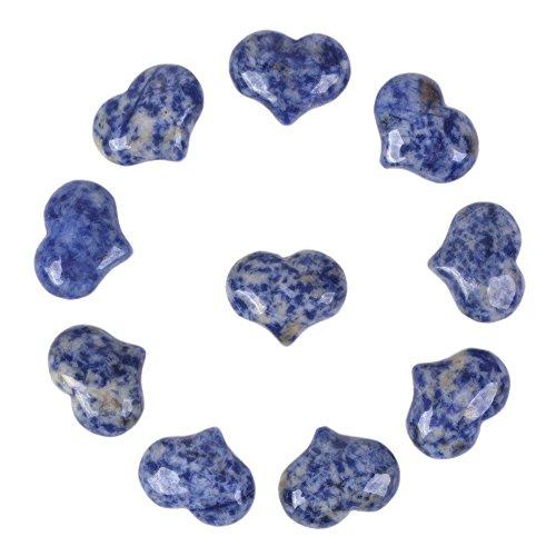 Natural Blue Spot Jasper Gemstone Healing Crystal 1 inch Mini Puffy Heart Pocket Stone Iron Gift Box (Pack of 10)