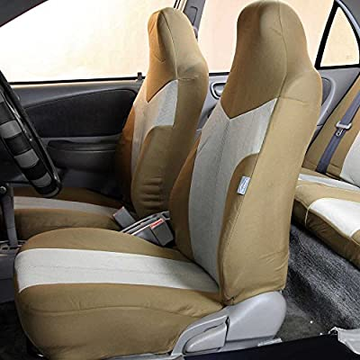 FH Group FB101115 Supreme Twill Seat Covers (Beige) Full Set with Gift - Universal Fit for Cars Trucks and SUVs: Automotive