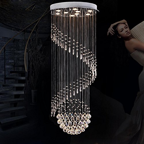 GRFH K9 Crystal Stair LED Chandeliers Modern Artistic Spiral Suspension Lightings Restaurant Hotel Villa Lobby Large Hanging Lamp , diameter 80 high 200 [led monochrome] (Cd Spiral Bulb)