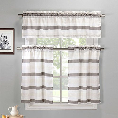 Duck River Textiles  - Akua Faux Silk Kitchen Tier & Valance Set | Small Window Curtain for Cafe, Bath, Laundry, Bedroom - (Coffee & Beige) ()