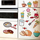 BIBITIME Cartoon Kitchen Decal for Wall Fridge Sticker Flower Carrot Water Jam Bread Food Vinyl Decor for Cooking bench Lockers Refrigerator