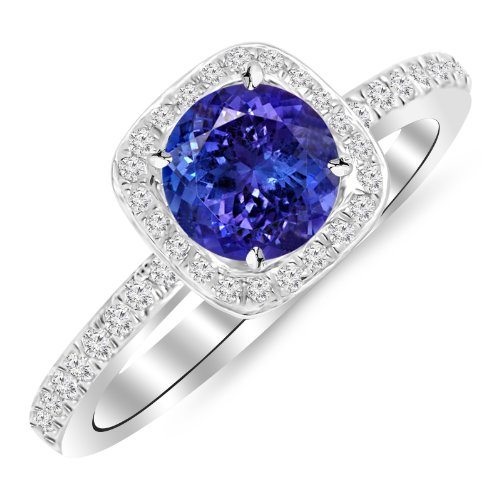 Platinum Classic Halo Style Cushion Shape Diamond Engagement Ring with a 1.5 Carat Tanzanite AAA Heirloom Center Stone