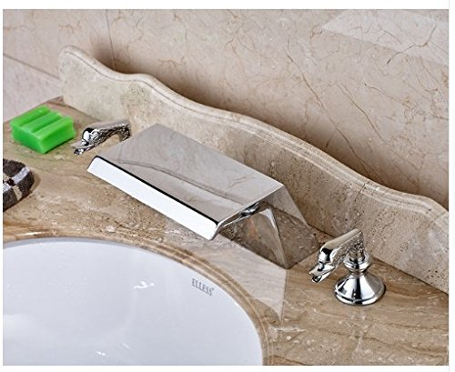 Gowe Chrome Finished Widespread 3pcs Waterfall Spout Bathroom Sink Faucet Deck Mounted Mixer Tap 0