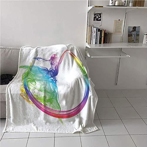 WilliamsDecor Abstract Party Blanket,Smoke Dance Shape Silhouette of Dancer Ballerina Rainbow Colors Fantasy,Warm Blanket,Microfiber All Season Blanket 70
