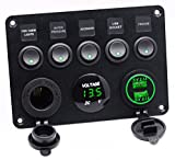 Cllena Dual USB Socket Charger 2.1A&2.1A + LED Voltmeter + 12V Power Outlet + 5 Gang ON-OFF Toggle Switch Multi-Functions Panel for Car Boat Marine RV Truck Camper Vehicles GPS Mobiles (Green)