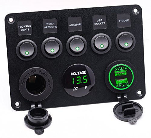 Cllena Dual USB Socket Charger 2.1A&2.1A + LED Voltmeter + 12V Power Outlet + 5 Gang ON-Off Toggle Switch Multi-Functions Panel for Car Marine Boat RV Truck Camper Vehicles (Green)
