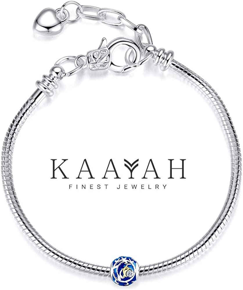 Pendentif Charm Femme KAAYAH Perle en Argent Sterling 925 avec Dauphin Plaqu/é Or Dauphin Star Zircon et /Émail Bleu pour Breloques Bracelet