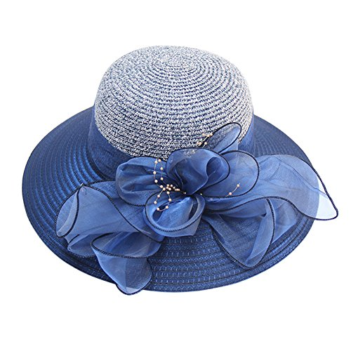 HUAMULAN Women Foldable Floppy Wide Large Brim Sun Hats Big Bowknot Beach Cap Striped UPF 50+,Navy