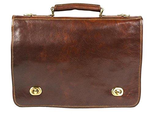 Italian Leather Flapover Soft Briefcase Messenger Bag 17
