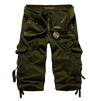 SHIDBA Men's Casual Solid Multi Pockets Cargo Shorts New Fashion Capri Pants Slim Fit (29, Army Green)