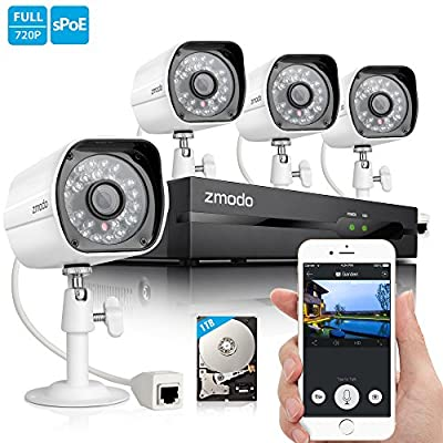 Zmodo 720P HD Home Security Camera System 4 x 720P Outdoor Night Vision Surveillance Camera 1TB Hard Drive from Zmodo