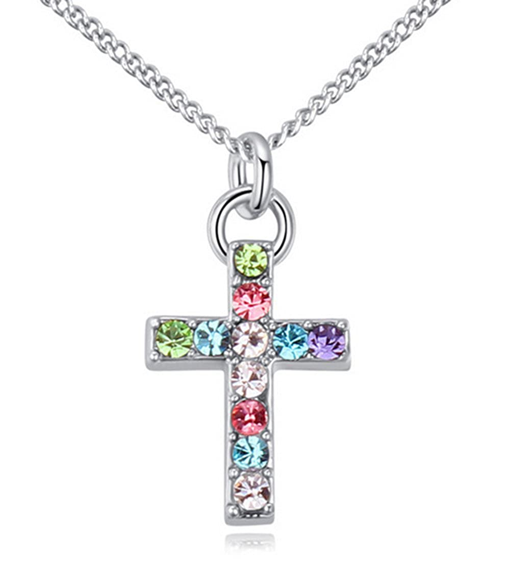 Strimm Sparkle Cross Crystal Pendant Chain Jewelry Necklace for Women Girls