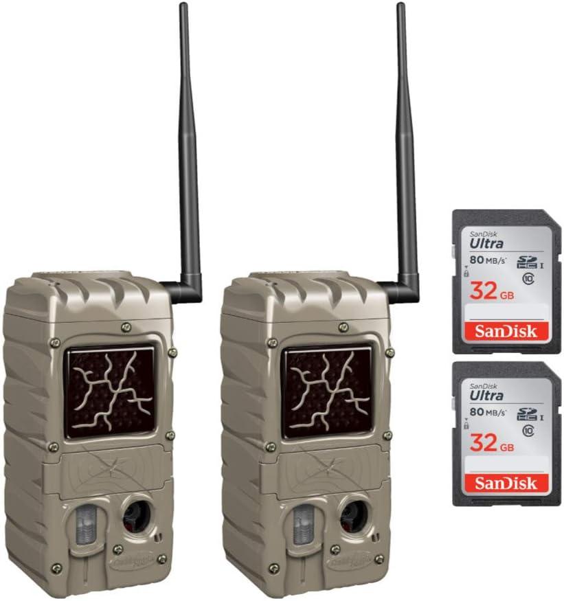 Cuddeback Cuddelink Power House Black Flash G-5079 Set of 2 Cameras with 2 SD 32 Gb Cards (4 Items)