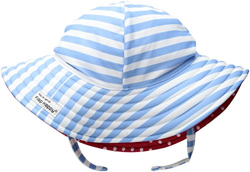 Flap Happy Baby Girls UPF 50+ Summer Splash Swim Hat, Sailor Stripe, Medium