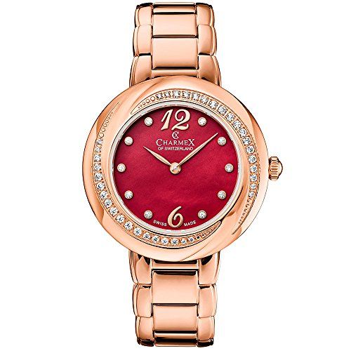 Charmex Women's Deauville 34mm Rose Gold-Tone Steel Bracelet & Case Quartz Red Dial Analog Watch 6367