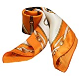 100% Silk Scarf Neckerchief Small Square Print Scarves Women (Classic Belts Orange)