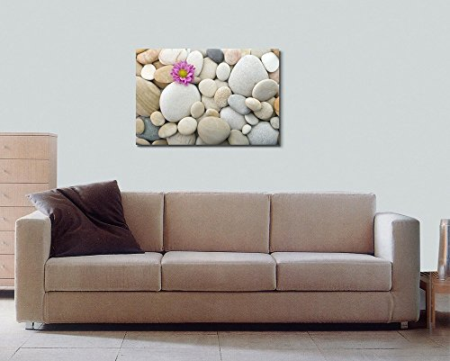Zen Pebble Stones with Pink Carnation Wall Decor