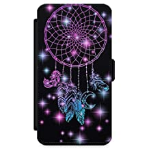 iPhone 7 Case, iPhone 8 Case, Midnight Dream Catcher Phone Case by Casechimp® | Premium Leather Flip Wallet Card Holder Slots | Lotus Dream Catcher Dormeo Teepee Love