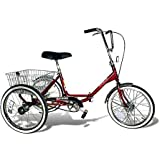 """20"""" Trifecta Adult Single Speed Folding Tricycle, Red"""
