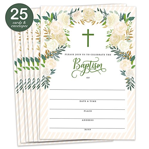 Gender Neutral Baptism Invitations with Envelopes (Pack of 25) Large 5x7 Christening Party Celebration Religious Ceremony Christian Dedication Naming Fill in Blank Invites Excellent Value VI0094B Baptism Invitations