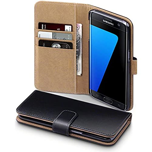Galaxy S7 Edge Case, Terrapin [Black] Premium PU Leather Wallet Case with Card Slots and Cash Compartment Case for Samsung Galaxy S7 Edge - Black with Tan Sales