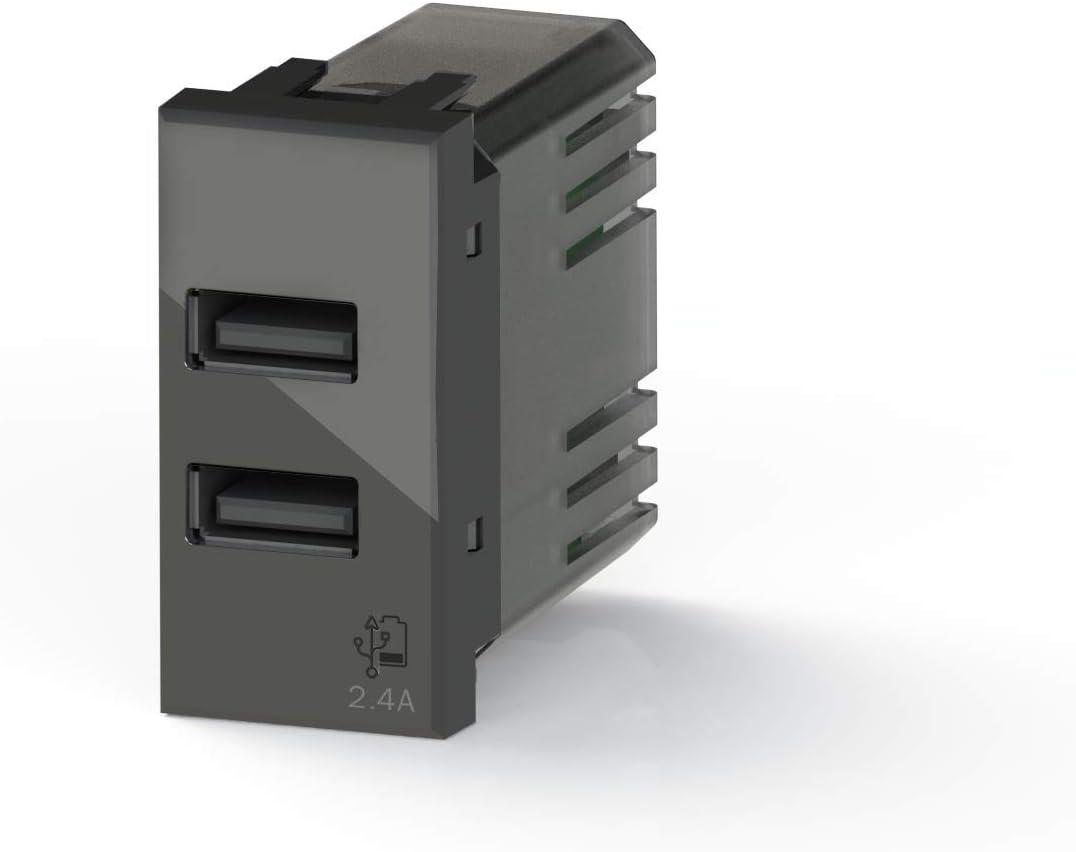 Compatibile con Bticino Axolute Antracite Antracite 4Box Presa USB 2.4 Ampere