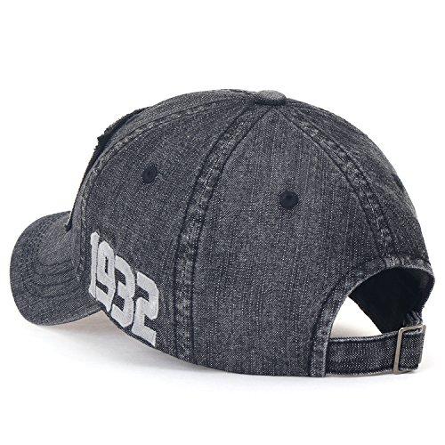 Black Cap Cotton Vintage Denim Baseball Patch Washed ililily Hat Trucker Embroidered fCwvPAqxq