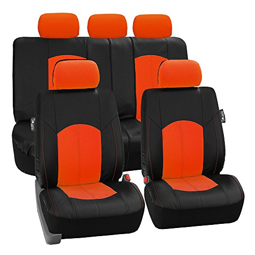 (FH Group PU008ORANGE115 Full Set Seat Cover (Perforated Leatherette Airbag Compatible and Split Bench Ready Orange))