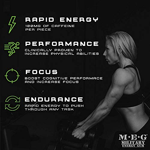MEG - Military Energy Gum | 100mg of Caffeine Per Piece + Increase Energy + Boost Physical Performance + Spearmint (1,440 Count) by MEG (Image #3)