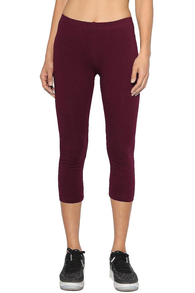 TheMogan Women's Essential Basic Plain Cotton Spandex Capri Cropped Leggings