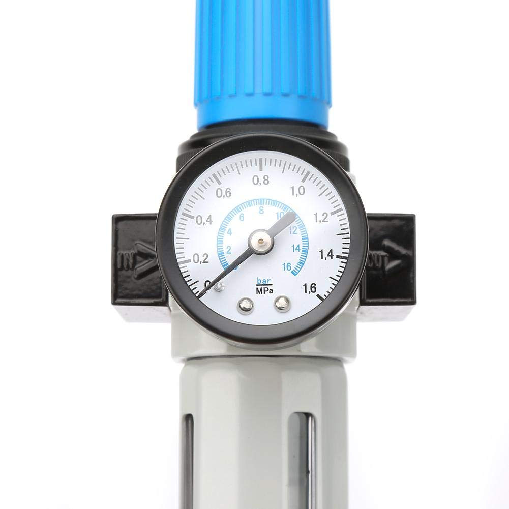 Air Filter Pressure Regulator G1//4,Combo Piggyback Miniature Pneumatic Pressure Reducing Valve,Aluminum Alloy Air Tool Compressor Filter with Gauge