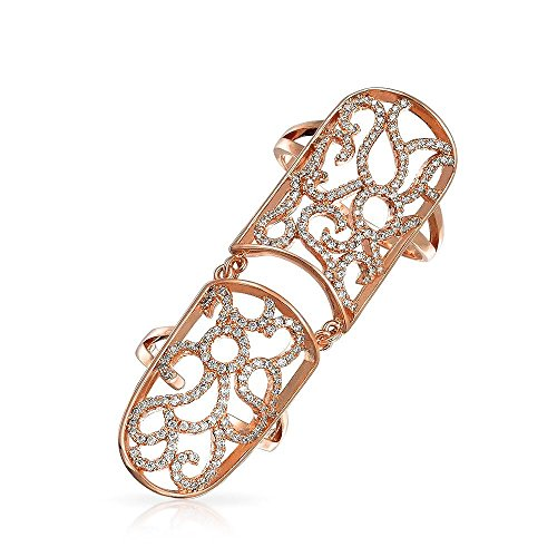 Bling Jewelry Rose Gold Plated CZ Armor Full Finger Filigree (Pave Filigree Ring)