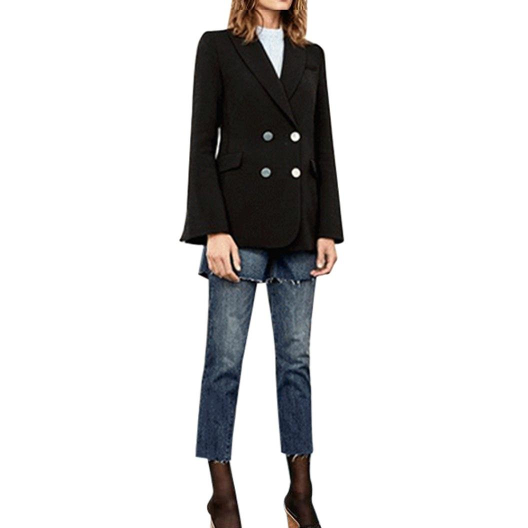 TiTCool Womens Vintage Long Sleeve Notched Cardigan Coat Formal Wear Tops Blouse (XL, Black)