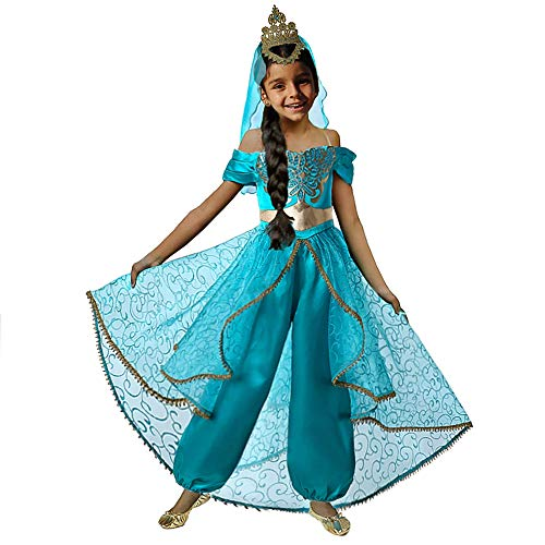 Pettigirl Girls Blue Princess Dress Up Costume Party Cosplay (9-10 Years, Costume_Crown Veil) -