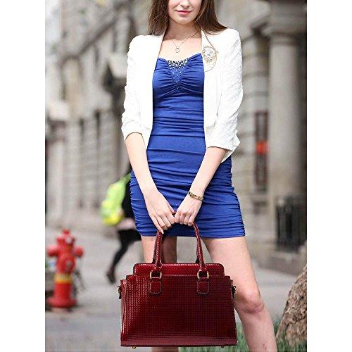 LEESUN LONDON - Bolsa Mujer, color rojo, talla L Y - Burgundy