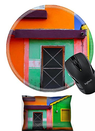 ist Rest and Round Mousepad Set, 2pc Wrist Support IMAGE ID: 9307564 colorful Caribbean houses tropical vivid colors Isla Mujeres Mexico (Pink Caribbean House)