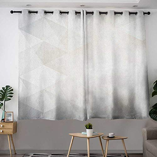 (Zodel Doorway Curtains Grey and White Polygon Art Stylized Geometrical Forms Contemporary Art Inspired Design Curtains for Living Room W 72