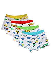 CHUNG Toddler Little boys 95% Cotton Boxer Briefs Underwear 4 Pack Car Print 3-7Y