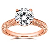 Antique Style Moissanite and Diamond Engagement Ring 1 1/2 Carat (ctw) in 14k Rose Gold
