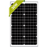 Newpowa 30W Monocrystalline Solar Panel with 3ft+1ft Wire,add Anderson connectors RV Marine Boat Off Grid (4ft Anderson…